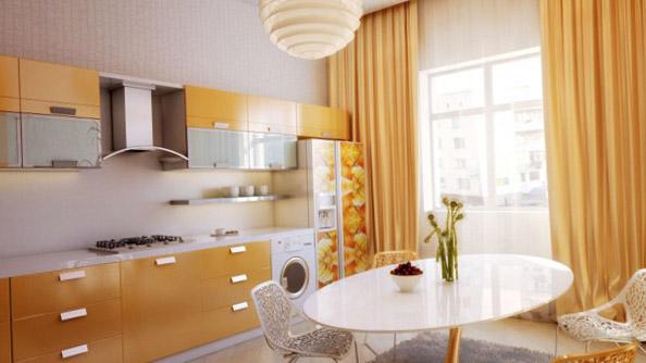 Выбор цвета штор на кухню