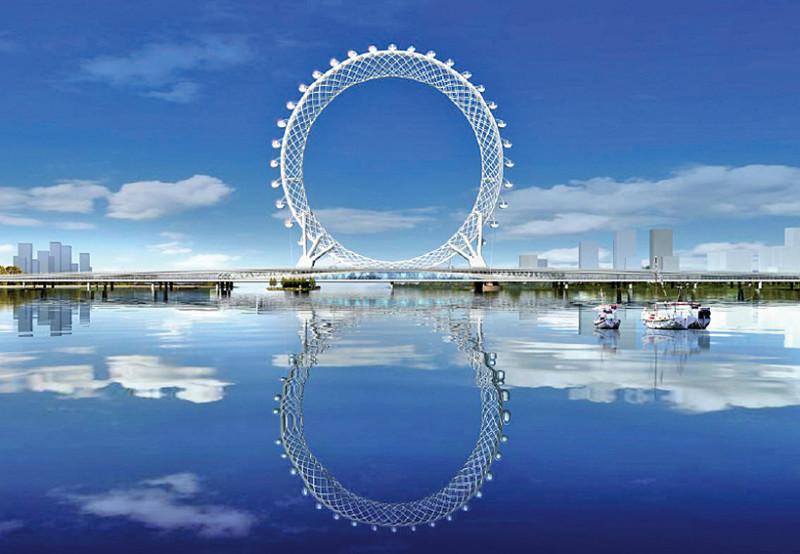 В Китае построили инженерное чудо – футуристическое безосевое колесо обозрения