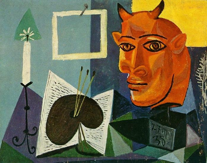 Пабло Пикассо. Натюрморт со свечой, палитрой и рогатой головой минотавра. 1938 год