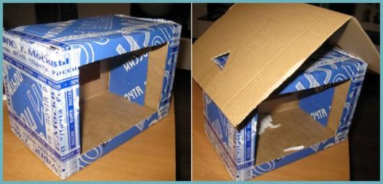 кормушка из картонной коробки