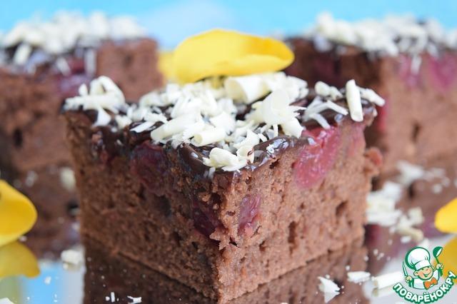 Шоколадный вишневый пирог рецепт фото