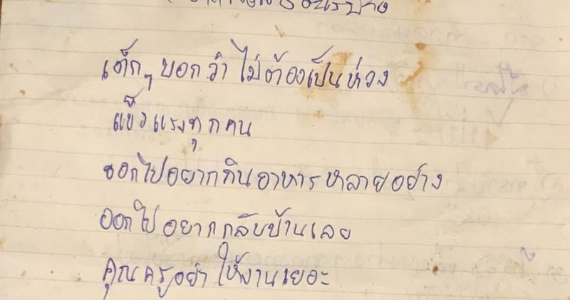«Пожалуйста, приготовьте для меня жареную курочку»: заблокированные в таиландской пещере дети написали письма домой