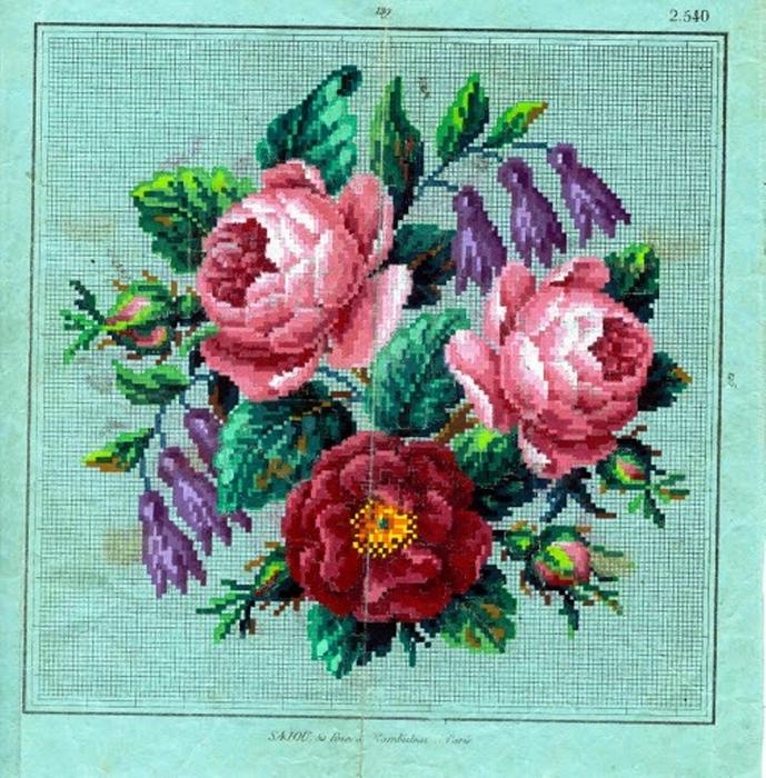 Старинные вышивки схемы розы