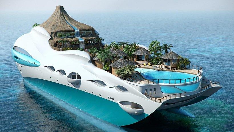 Передвижной райский остров с вулканом на яхте