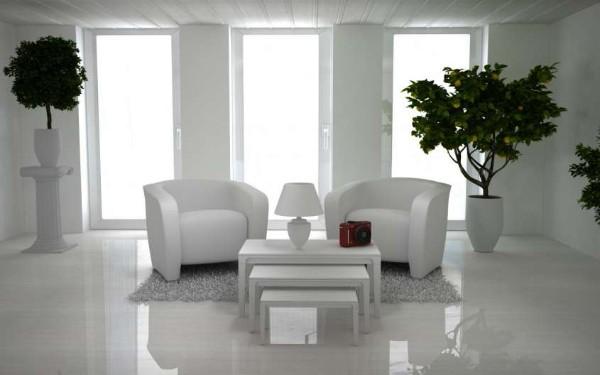 модный белый интерьер оформление растениями