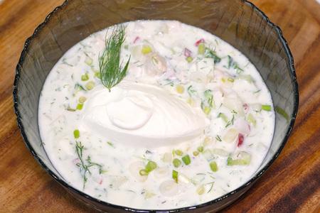 Фото к рецепту: Прохладная окрошка на кефире