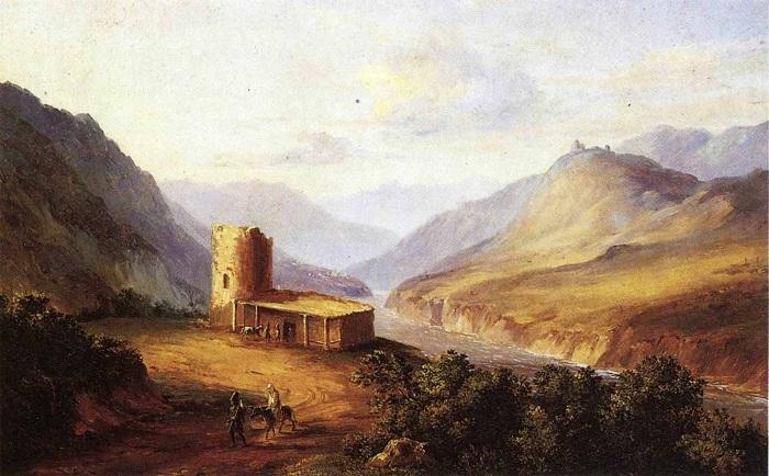 Военно-Грузинская дорога близ Мцхета. Масло. (1837 год). Автор: М.Ю. Лермонтов.