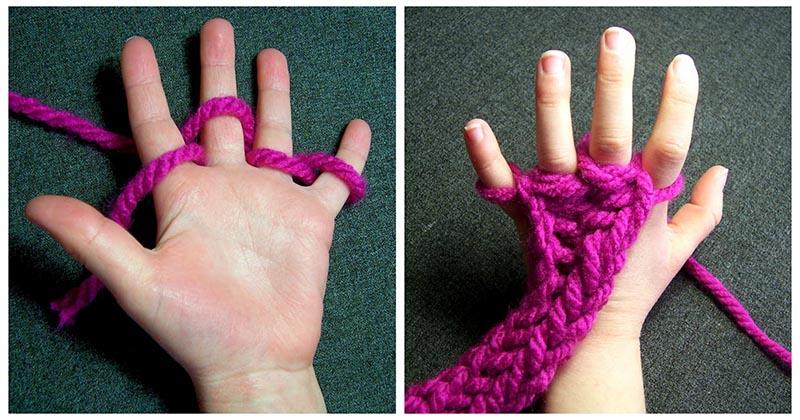 Вязание на пальцах — интересная и очень простая техника