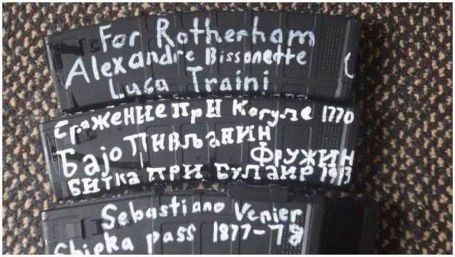 Надписи на оружии Брентона Тарранта