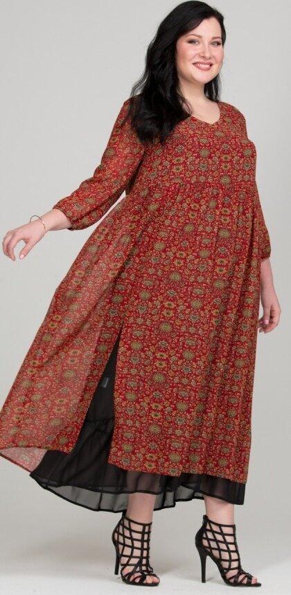 Красное платье бохо с мелким рисунком
