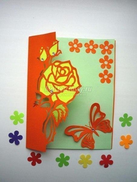 Открытка - киригами с розой.