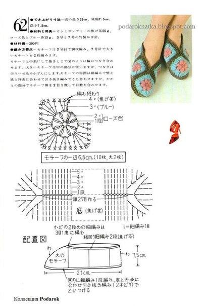 Вязаные тапочки крючком со схемами и описанием