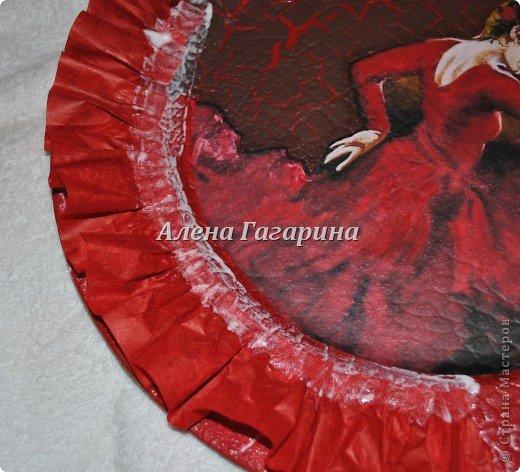 Декор предметов Мастер-класс Декупаж Тарелка Фламенко Бумага фото 13