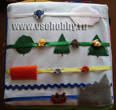 развивающий кубик 6 грань пуговки на ленточках