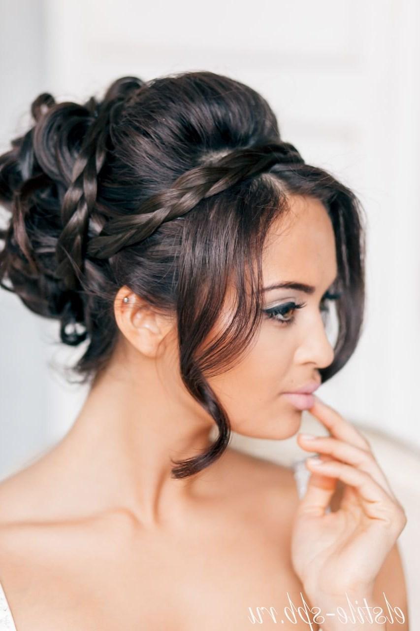 Свадебные прически с челкой коса фото