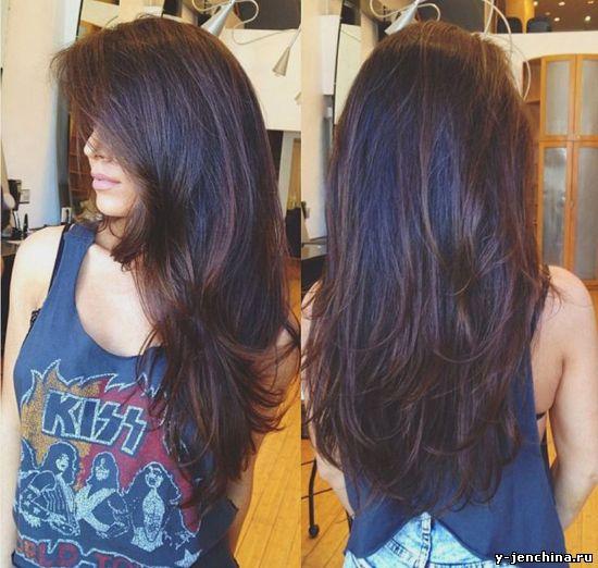 стрижка на длинные волосы лесенка фото сзади
