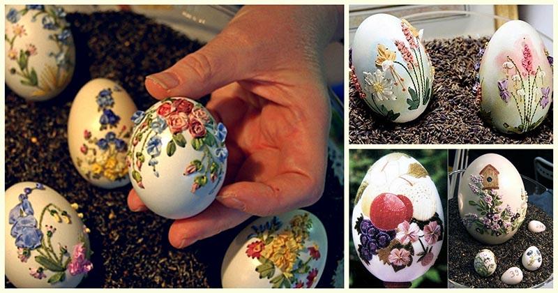 Вышивка на яичной скорлупе —…