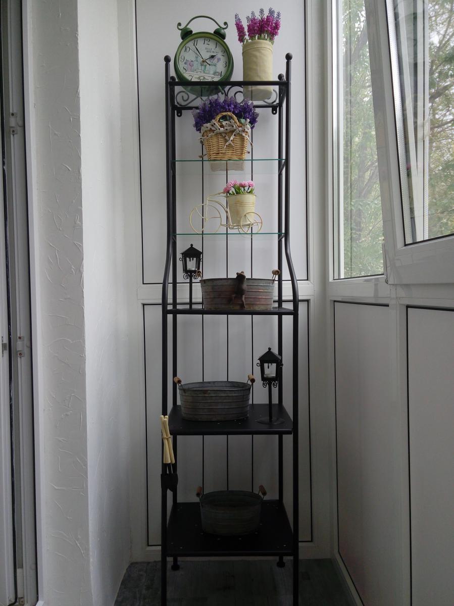 Как сделать полку на балконе для цветов фото