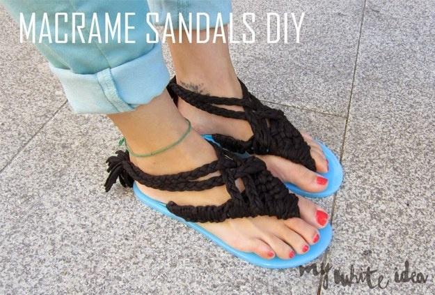 Веревочные сандалии макраме (Diy)