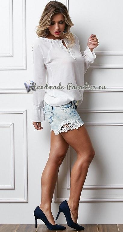 Джинсовые шорты с кружевом своими руками (2)