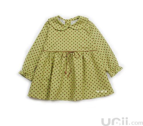 Зеленое платье в горошек для девочки на рост 80-90 см (12-24 мес.)