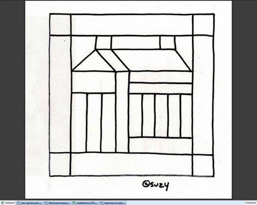 шаблон домика для картины на пенопласте