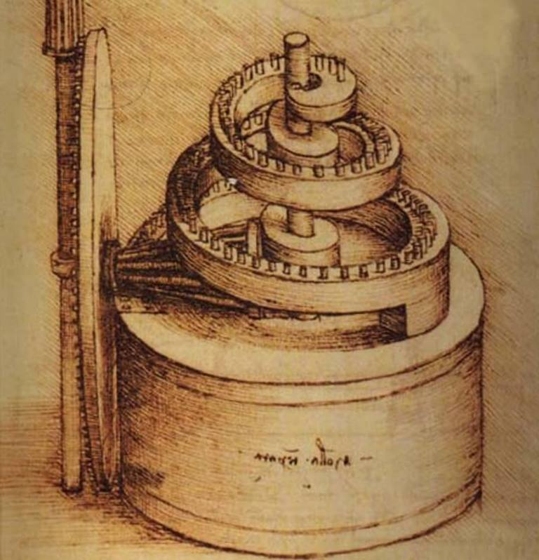 Пружинное устройство - Леонардо да Винчи (1500)