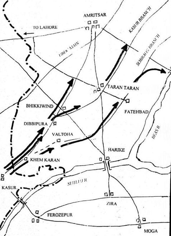 План пакистанского наступления - Индо-пакистанская война 1965 года: танковое сражение за Асал-Утар   Военно-исторический портал Warspot.ru