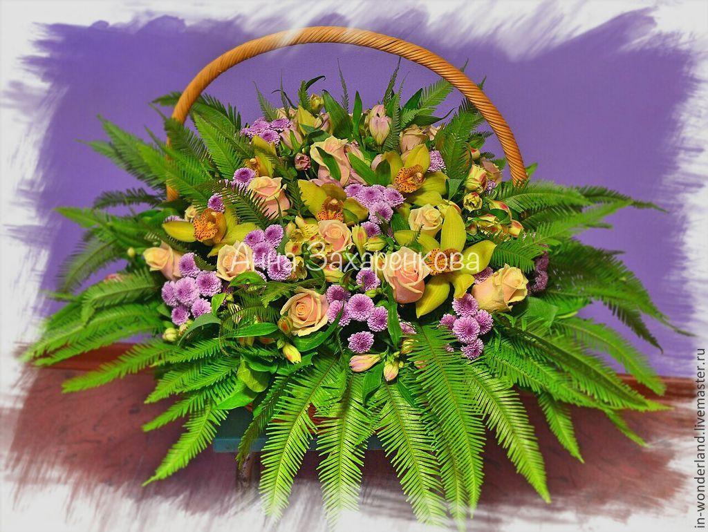 Как сделать корзину из живых цветов фото