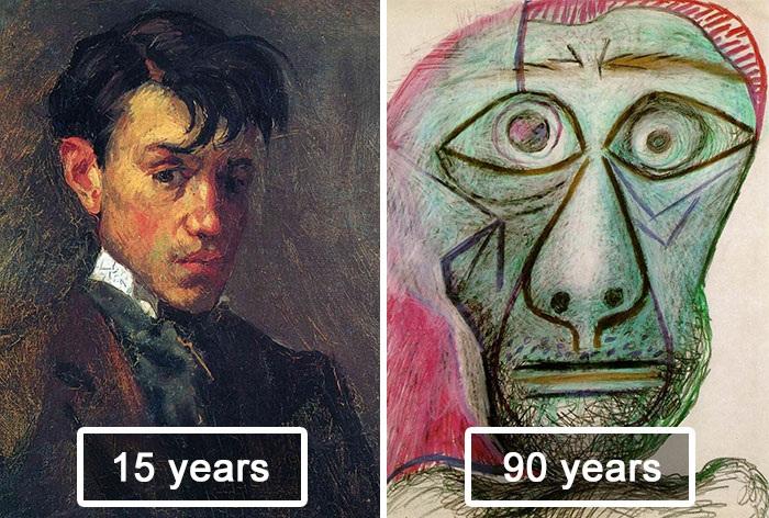 Автопортреты. Пабло Пикассо в 15 и в 90 лет.