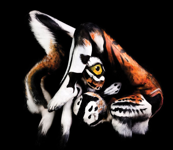 14. Тигр боди-арт, художник, человек-змея