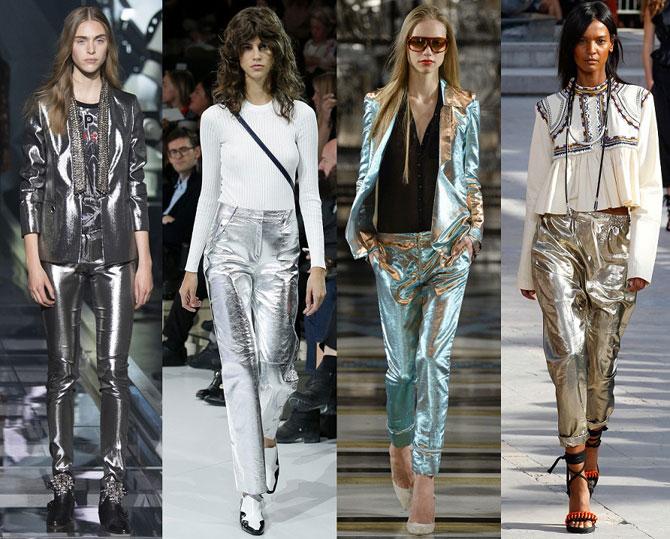 С чем носить блестящие брюки