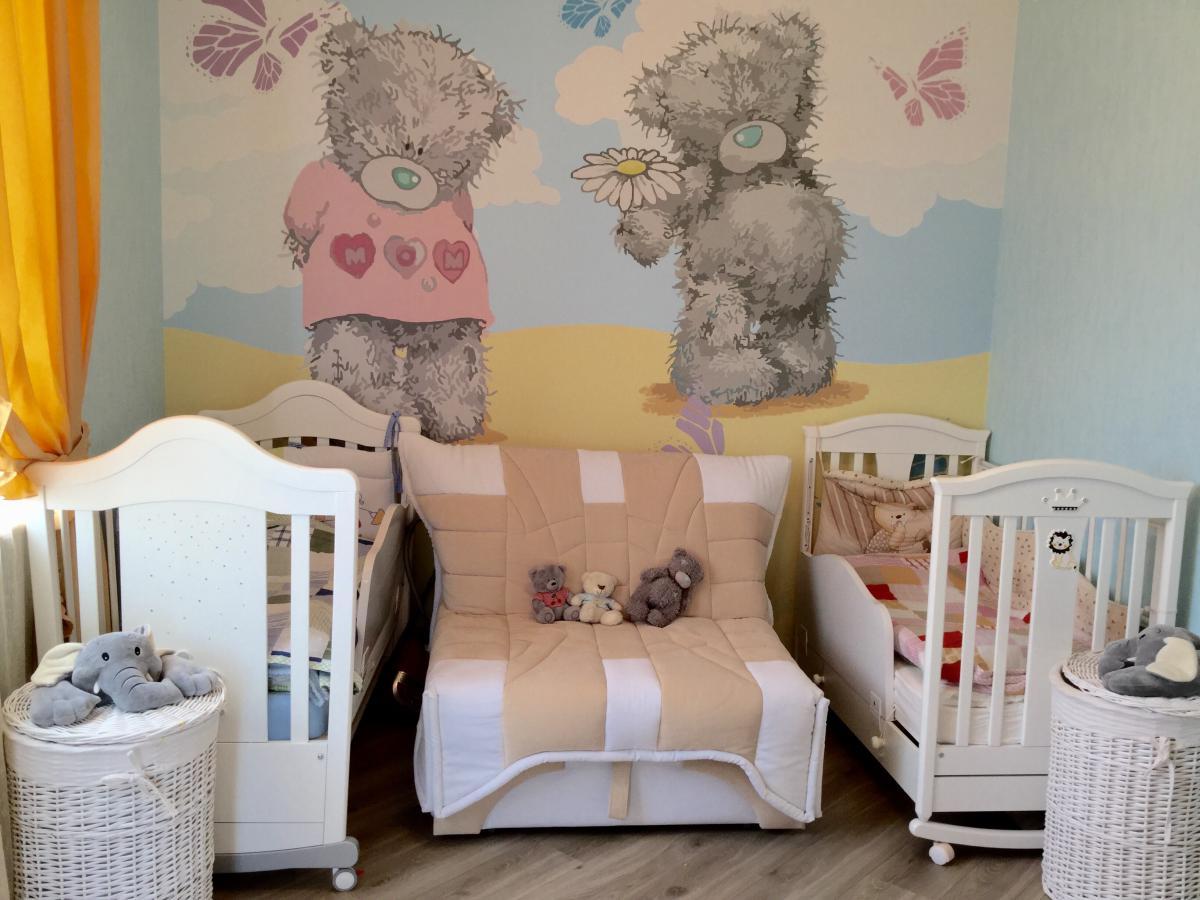 Детская для разнополых маленьких двойняшек и мишки Тедди