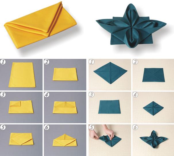 Оригами для сервировки стола из салфеток