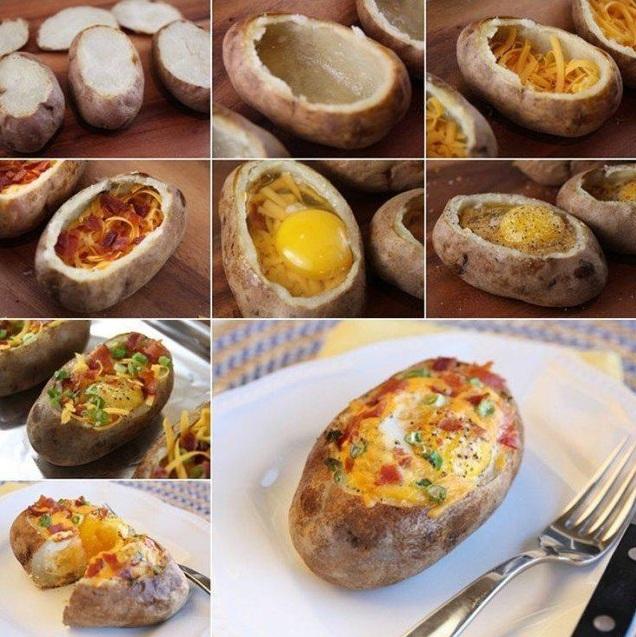 Это простое блюдо достойно королевского стола: аппетитный запеченный картофель с яйцом