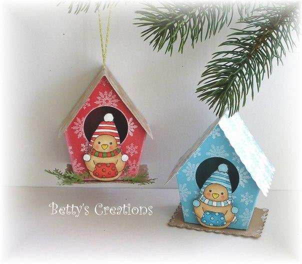 Домики на елку или для упаковки подарка. Шаблоны