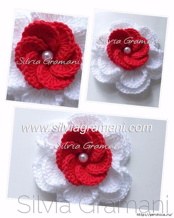 Silvia Gramani flor de crochê vermelha e branca II (560x700, 267Kb)