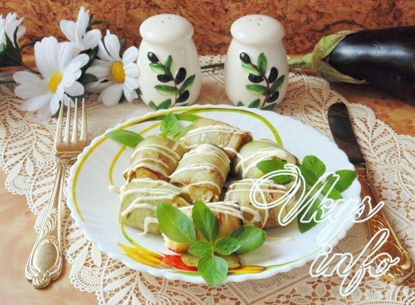 Рулетики из баклажанов с сыром и чесноком