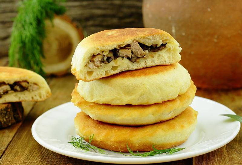 Лепёшки с мясом и грибами грибы, еда, лепёшки, мясо, рецепт