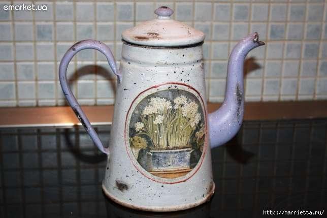 Декупаж старого чайника своими руками