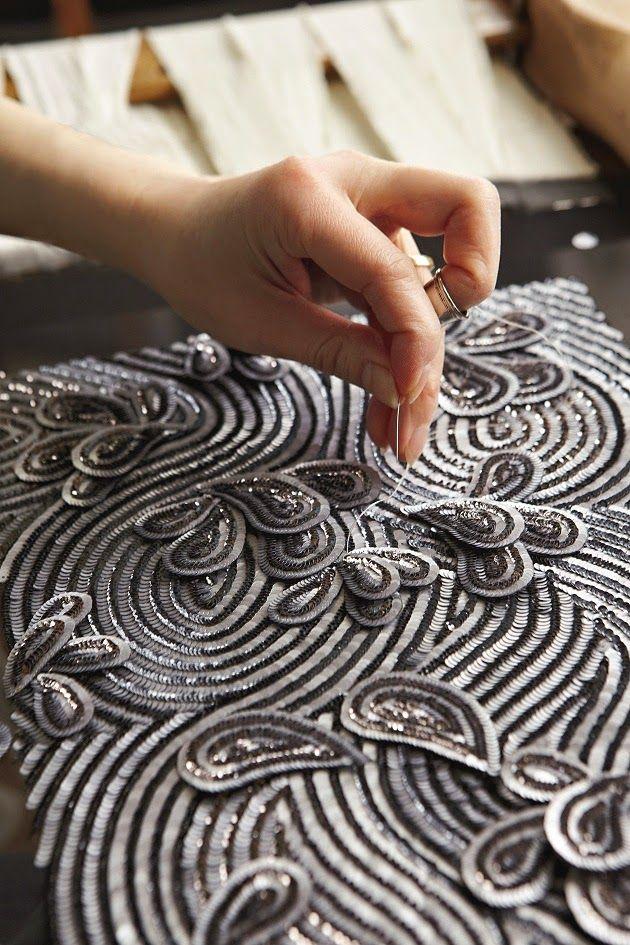 Fashion Atelier - haute couture embroidery; embellishment detail; fashion studio // Broderies Lanel:
