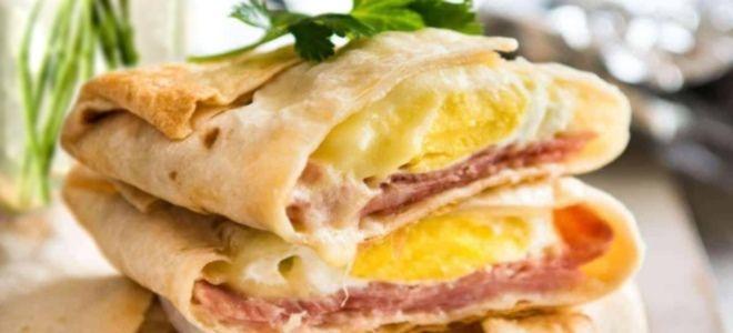 Лаваш бекон сыр яйцо
