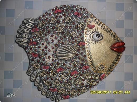 Картина, рисунок, панно Лепка: рыбы Гипс. Фото 6