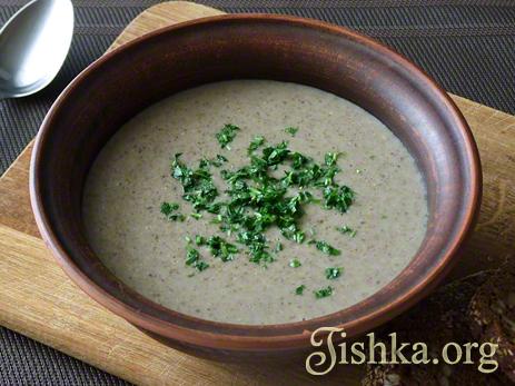 Грибной суп-пюре с овсянкой (постный)