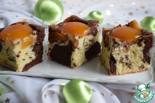 Мраморный пирог с абрикосами - на вкус хорош и глаз радует!