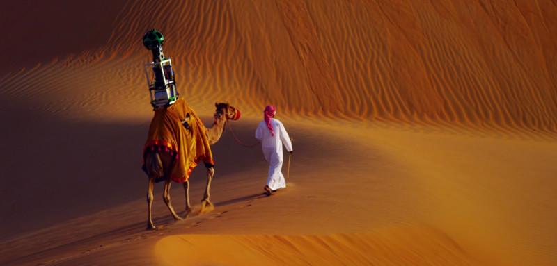 3. Верблюд с установленной на нём камерой Google Street View снимает панорамы пустыни. наш мир, удивительные фотографии