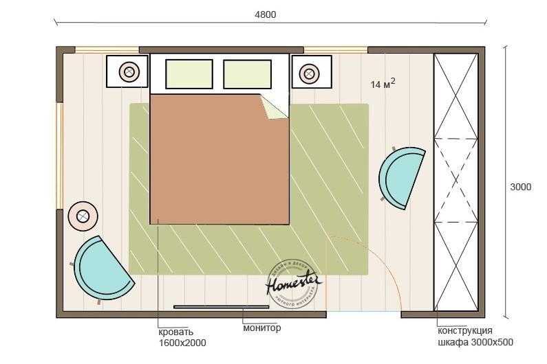 Дизайн спальни 15 м кв