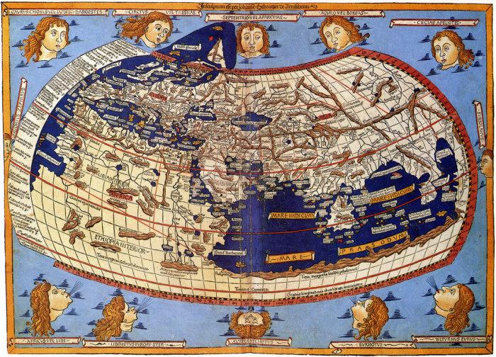Карта «Обитаемого мира» Птолемея, воссозданная уже после его смерти на византийской рукописи XIII века – одна из самых известных и информативных.