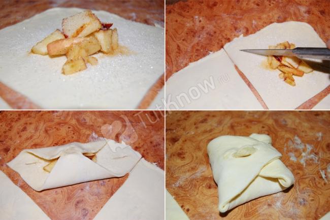 Как завернуть слоеное тесто с начинкой рецепт
