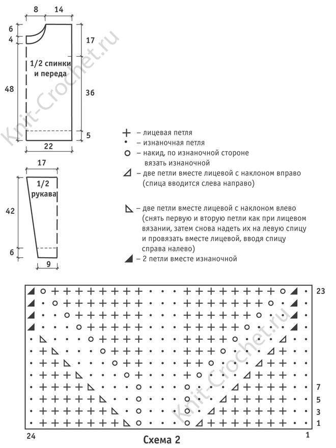 Выкройка, схемы узоров, обозначения для вязания спицами женского ажурного пуловера 42-44 размера.
